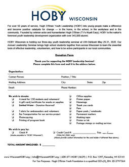 HOBY WI Donation Form
